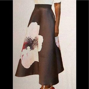 Dresses & Skirts - Black A-line  High waist long skirt w/floral print